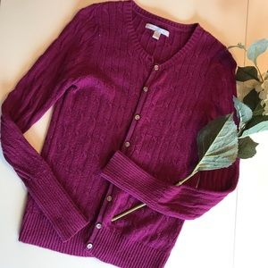 Magenta Cable-Knit Cardigan